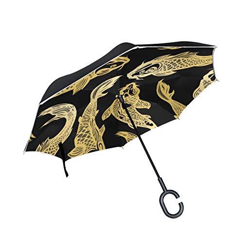 Paraguas invertido de Doble Capa, a Prueba de Viento, para Exteriores, para Lluvia, Sol, para Coche, con Mango en Forma de C, sin Costuras, con pez Carpa Koi