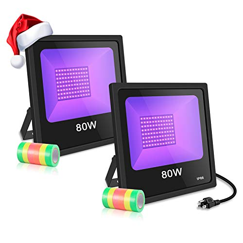 UV LED Black Light, 2 Pack 80W LED UV Blacklight for Parties 10ft Power Cords IP66 Ultra Violet Flood Light Stage Lighting - Perfect for Halloween, Club, Glow in The Dark, Body Paint, Aquarium