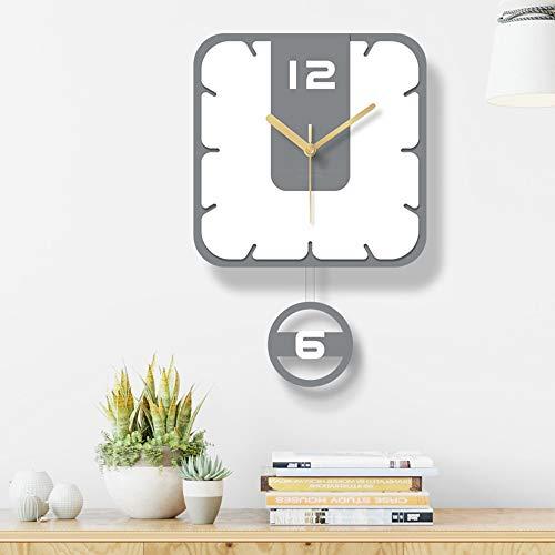 Miwaimao Reloj de Pared Reloj De Pared De Acrílico Cuadrada Simple Salón Comedor El Columpio Nórdica Decoración Casera Moderna 30 * 45cm De La Manera Creativa Silencio