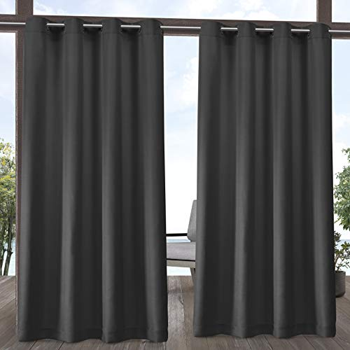your zone home patio curtains Exclusive Home Curtains Indoor/Outdoor Solid Cabana Grommet Top Curtain Panel Pair, 54x108, Charcoal
