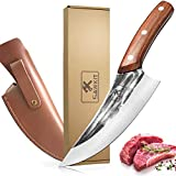 SAWKIT Boning Butcher Knife, Meat Cleaver Knives High Carbon Steel with Leather Sheath, Hand Forged Fillet Knife Chefs Knives with for Vegetable/ Kitchen/ BBQ/ Camping/ Hiking
