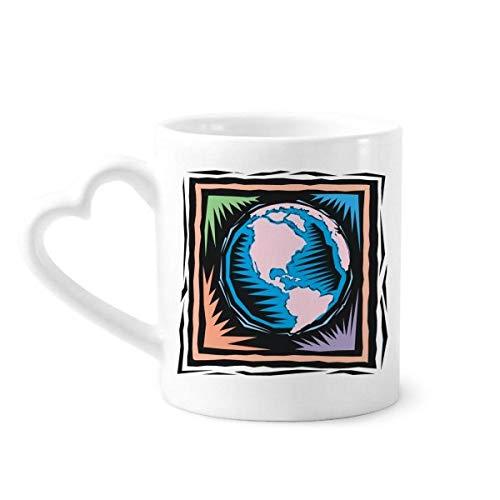 DIYthinker Mysterious Blue Earth mexikanische Element Gravieren Kaffeetasse Keramik Keramik-Schale mit Herz Griff 12 Unzen Geschenk Mehrfarbig