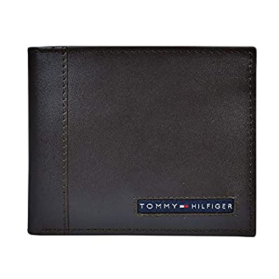 Tommy Hilfiger Men's Leather Wallet – Slim Bifold with 6 Credit Card Pockets and Removable ID Window, Brown, One Size