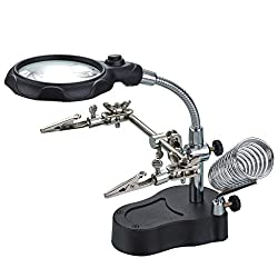 top 10 jewellery soldering iron OLLGEN 3.5X 12X Helping Hands Magnifier LED Glass Adjustable Soldering Iron Clip With Alligator Clip…