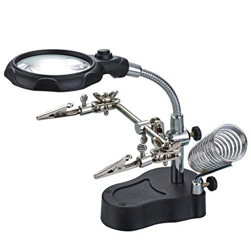 iKKEGOL - Lupa de mano con LED de cristal para soldador (3,5 x 12 unidades)
