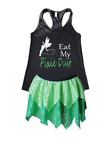 Tinkerbell Running Costume Set, Woman Size Small, Medium, Large, XL, Princess Sparkle Skirt Outfit, Adult Fairytale Sequin Tutu and Shirt, Cosplay Athletic Wear for Women, 5K, Half Marathon