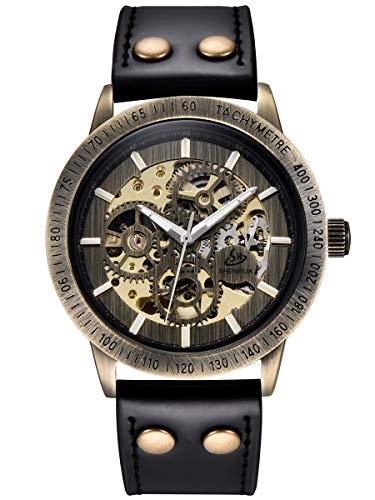 Alienwork Automatikuhr Armbanduhr Herren Damen Bronze Lederarmband schwarz Skelett Retro