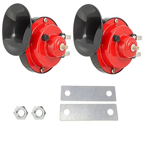 FineBoing Bocina de caracol de la motocicleta de aire fuerte Eléctrica Bocina de caracol doble a prueba de agua 12V 110DB 2PCS Negro y Rojo