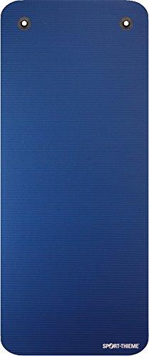 Sport-Thieme Gymnastikmatte Premium mit Ösen | Schadstofffreie Fitnessmatte, Trainingsmatte, Yogamatte | Blau | LxBxH: 190x80x1,5 cm | geschlossenzelliger Spezial-Schaumstoff | 2,4 kg