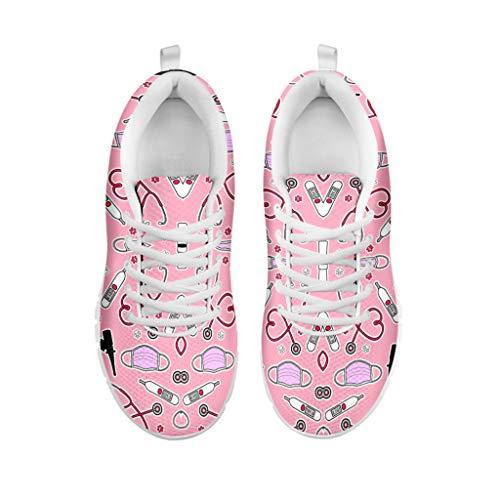 POLERO Nurse Zapatilla de Deporte Mujer Zapatillas Casual Zapatillas De Enfermera Zapatos para Correr con Cordones Zapato Plano para Caminar Zapatillas De Tenis De Malla, Talla 41, Rosa
