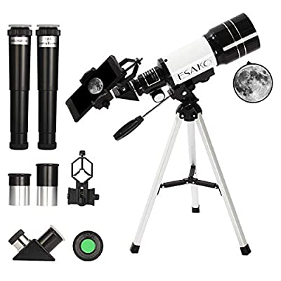 ESAKO Telescope for Beginners & Adults 70mm Astronomical Refractor Telescopes with Height Adjustable Tripod Backpack Phone Mount & Moon Filter & 3X Barlow Lens
