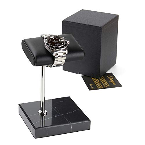 SOVEREIGN Watch Stand - Handcrafted Leather and Marble Watch Display Stand for Both Men's and Women's Wrist Watches - Complete with Gift Box - The Perfect Luxury Gift