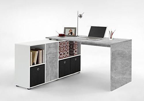 LEXA Corner Home Office Computer Desk Finished in **ALL NEW** Natural Stone & White Finish Includes 3 Anthracite Coloured Canvas Storage Boxes