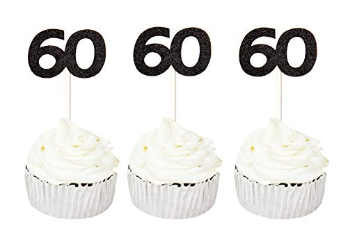 24 PCS 60th Cupcake Toppers - Anniversary or Birthday Cupcake Picks Party Decoration Supplies | Black 60th