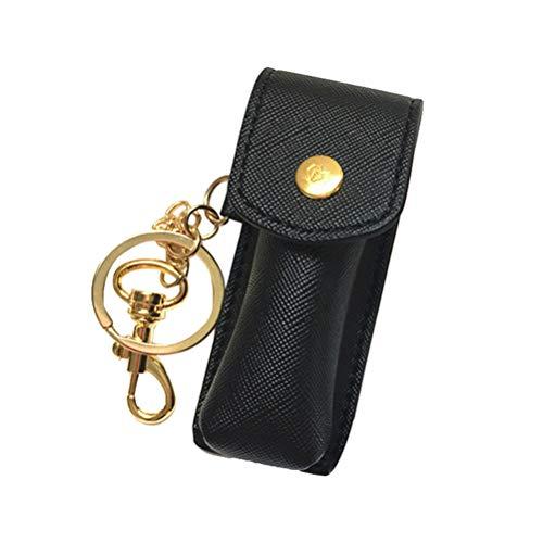 Heallily Chapstick Porte-clés Étui pour Rouge à lèvres Fashion avec Porte-clés pour Femmes Filles (Noir)