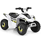 Costzon Ride on ATV, 6V Battery Powered Electric Quad, High/Low Speeds, Forward/ Reverse Switch, Rear Wheeler Motorized Ride On Mini Vehicle Car for Toddlers Boys Girls (White)