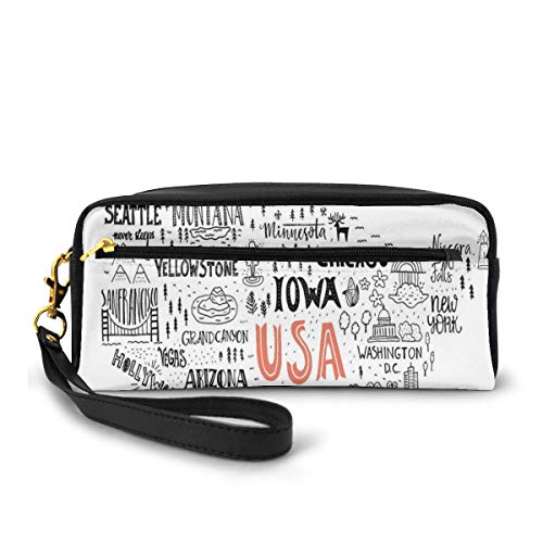 Pencil Case Pen Bag Pouch Stationary,United States of America City Typography Pattern with Local Figures Concept,Small Makeup Bag Coin Purse
