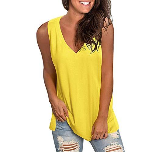 ZHANSANFM Tank Tops Damen Sommer V-Ausschnitt Ärmellose Weste Casual Loose Fit T Shirt Bluse Hemdbluse Elegant Tunika Shirt Sommershirt Oberteile (XL, Gelb-1)