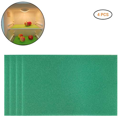 4 x Kühlschrank-Pads, antibakteriell, schimmelresistent, feuchtigkeitsbeständig, Frischhalte-Pad, Kühlschrank-Matten, grün, 4 Stück
