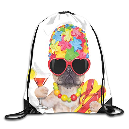 Drawstring Bag Sport Gym Sackpack-Tropical Vacation Themed Dog Flip Flops Sunglasses And Cocktail Exotic Bulldog Pet,Drawstring backpack Mouth Gym Sack Rucksack Shoulder Bags For Men & Women