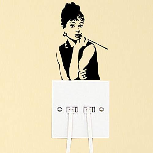 BLOUR Audrey Hepburn Mode Vinyl Schlafzimmer Wandaufkleber Lichtschalter Aufkleber 6SS0316