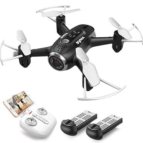 SYMA Mini Drohne HD Kamera Live Übertragung RC Pocket Drohne RTF tragbarer Quadcopter ferngesteuert mit Höhenhaltung Kopflos-Modus App steuern für Anfänger Kinder Spielzeug Schwarz