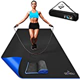Sensu Large Exercise Mat – 6' x 4' x 8.5mm Extra Thick Workout Mats for Home Gym Flooring - Perfect for Jump Rope, Weights, MMA, Cardio and Fitness – Durable High Density Non-Slip Workout Mat - Shoe Friendly