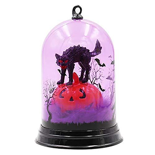 JLFDHR Luz de Noche pequeña y única Bruja de Calabaza de Halloween Patrón de Gato Decoloración Miniaturas de luz en Figuras y miniaturas de Hogar y Jardín, 1