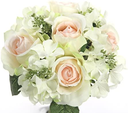 Admired By Nature 9 Stems Artificial Rose Hydrangea Mixed Bouquet Cream Pink product image