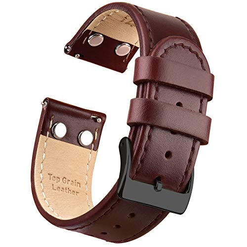 Ritche 22mm Watch Band Premium Leather Watch Strap Quick Release Watch Bands for Men Women