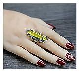 CHXISHOP Anillo largo de plata de ley 925 con piedras preciosas grandes, a la moda, estilo retro, apertura ajustable, piedra de ágata, color amarillo, talla única