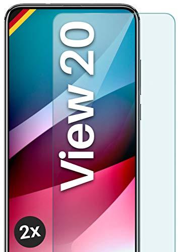 moex Panzerglas kompatibel mit Huawei Honor View 20 - Schutzfolie aus Glas, bruchsichere Bildschirmschutz Folie, Crystal Clear Panzerglasfolie, 2X Stück