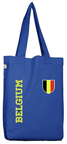Belgique Belgien Fußball Fanshirt WM Gruppen Bio Baumwoll Jutebeutel Stoffbeutel Fan Trikot Belgium, Größe: onesize,Bright Blue