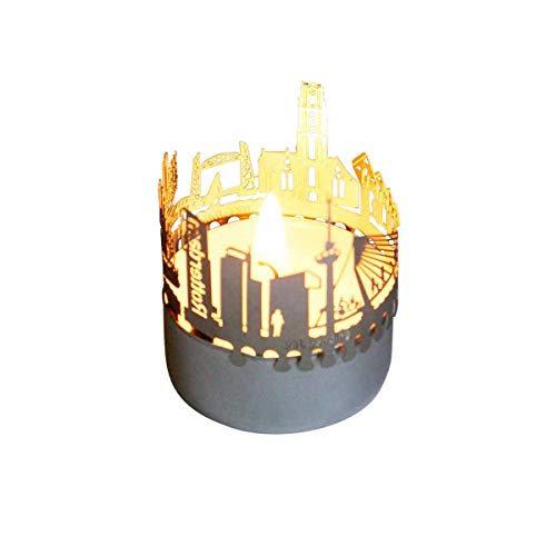 13gramm Rotterdam-Skyline Windlicht Schattenspiel Souvenir, 3D Edelstahl Aufsatz für Kerze inkl. Karte