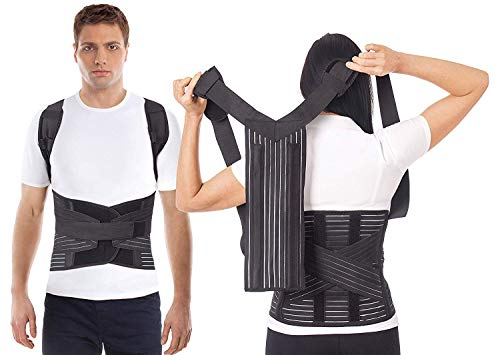 Postura Corretta-Cintura per correzione postura-Fascia posturale-Tutore della postura per-Correzione postura-Correttore posturale- -Sostengo posturale-Unisex-Traspirante ADJUSTABLE Black X-Large