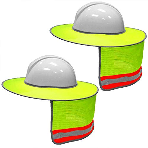 2 Pack Hard Hat Sun Shield,Full Brim Mesh Neck Sunshade for Hardhats,High Visibility,Reflective