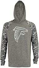 Zubaz NFL Falcons (Big Logo) Lightweight Long Sleeve Space Dye Hooded Shirt, Grey Size S