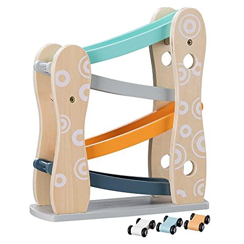 Navaris Pista Macchinine in Legno per Bambini + 18 Mesi - Set 1x Scivolo 3X Macchinette Giocattolo - Pista Macchine 25,5x9,2x28,8cm - Toy Cars Track