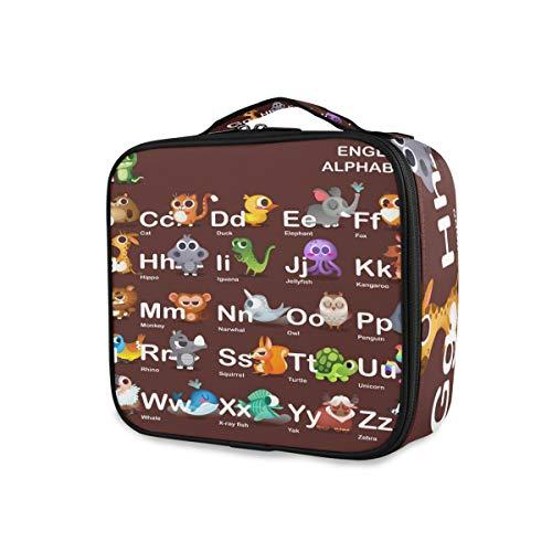 Mooie dieren met alfabet opslag toilettas make-up tas reizen mode gereedschap cosmetica trein geval draagbaar