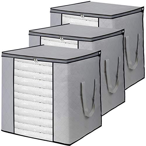 VERONLY 3 Stück 90L Groß Aufbewahrungstasche, Faltbar Unterbett Kleideraufbewahrung mit verstärktem Griff und Stabilem Reißverschluss, für Bettwäsche, Bettdecken und Kissen (Grau 50x36x50cm)