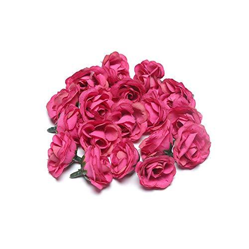 20 unidades de 3 cm de seda rosa artificial para bricolaje, cabeza de flor, artículos de decoración, corona, artesanía, flores artificiales, granate, talla única