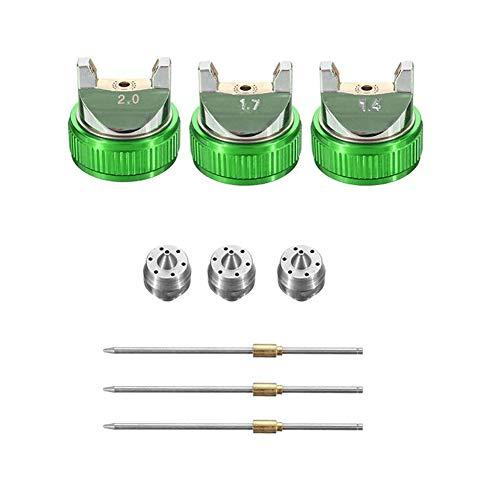 BLTR Vida más Larga 1,4/1,7/2,0 mm Boquilla Gravedad neumática Equipamiento de Pintura Spay Pistola for el Coche Auto Repair Tool Kit Profesional de Pintura Resbaloso (Color : Green)