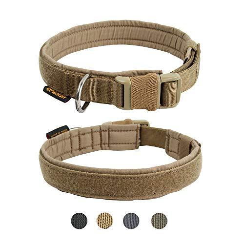 EXCELLENT ELITE SPANKER Collare per Cane Collare per Cane Militare Collare per Cane in Nylon a sgancio rapido Regolabile per Collare per Cani di Taglia Media di Piccola Taglia(Marrone-L)