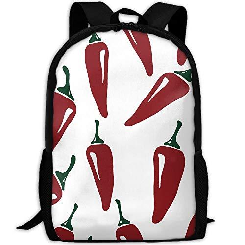 School Bag,Bolso De Escuela Rojo del Chile, Bolsos De Escuela Cómodos del Hombro para El Gimnasio Al Aire Libre,43x28x16cm
