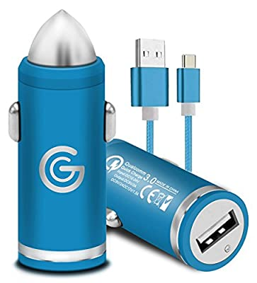 Gadget Giant Quick Charge 3.0 TYPE C/USB C Car Charger for Samsung Galaxy S9 S10 Note 9 10 A20e A30 A40 A50 A60 A70 A80 A90 [RAPID QUICK FAST CHARGING CHARGER] [QC 3.0] [+ DURABLE DATA CABLE] Blue