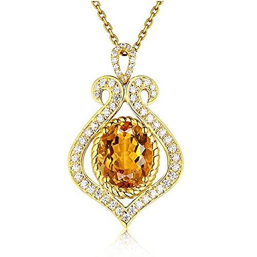 WEIKAI Collar para mujer con colgante de citrino en forma de gota, color natural, chapado en oro