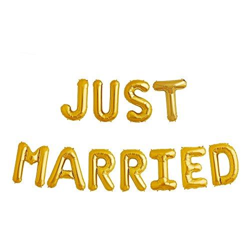 ballonfritz® Luftballon JUST Married -Schriftzug in Gold - XXL Folienballon als Hochzeits Deko, Begrüßung, Party Geschenk, Fotorequisite oder Empfang-Überraschung