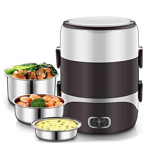 DAMAI Fiambrera eléctrica Comida térmico Lunch Box Fiambreras bento Bandeja extraíble Acero Inoxidable Recipiente de Comida térmico,Brown