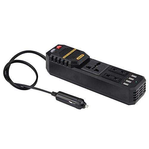 KIMISS KI6375 200W Power Inverter spanningsomvormer DC 12V naar AC 220V W/sigarettenaansteker 4 USB-lader universele oplader voor laptop, smartphone telefoon
