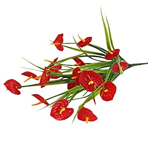 Pomobie 2 Bundles Artificial Anthurium Lily Flowers for Home Decor Bouquet and Green Leaf and Bridal Wedding Festival Decoration Small Flower Flower Arrangement